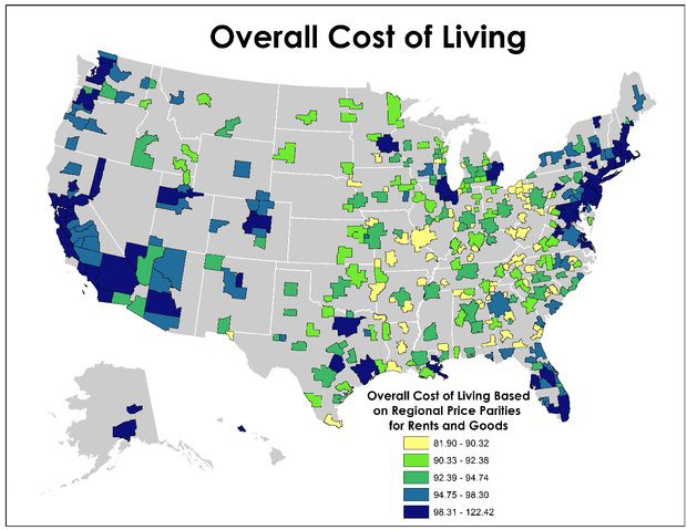 Us Cost Of Living Map My Blog - Living wages in the us map